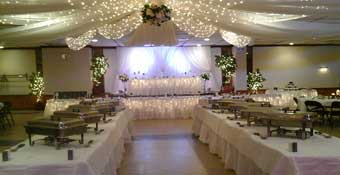 Decorated wedding buffet tables
