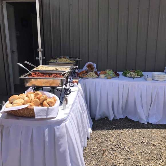Food tables outdoor at a rustic wedding in the Laurel Highlands