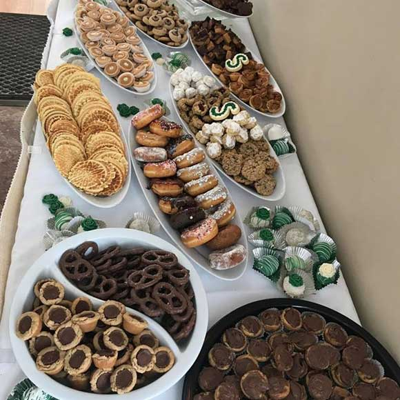 Wedding dessert table with many cookies