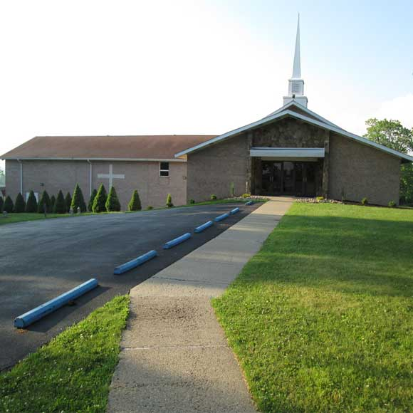 Front of church and parking lot